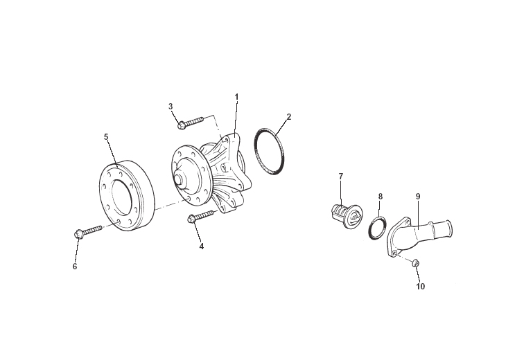 Water Pump Assembly, Thermostat