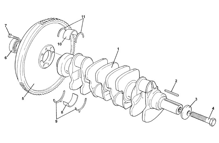 Crankshaft, Bearings, Flywheel, V8