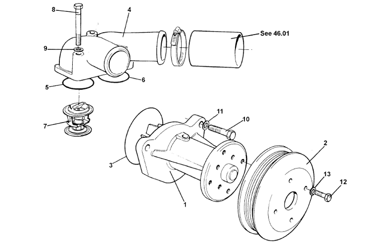 Water Pump Assembly, Thermostat, V8