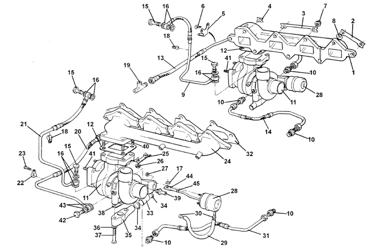Exhaust Manifolds & Turbochargers, V8