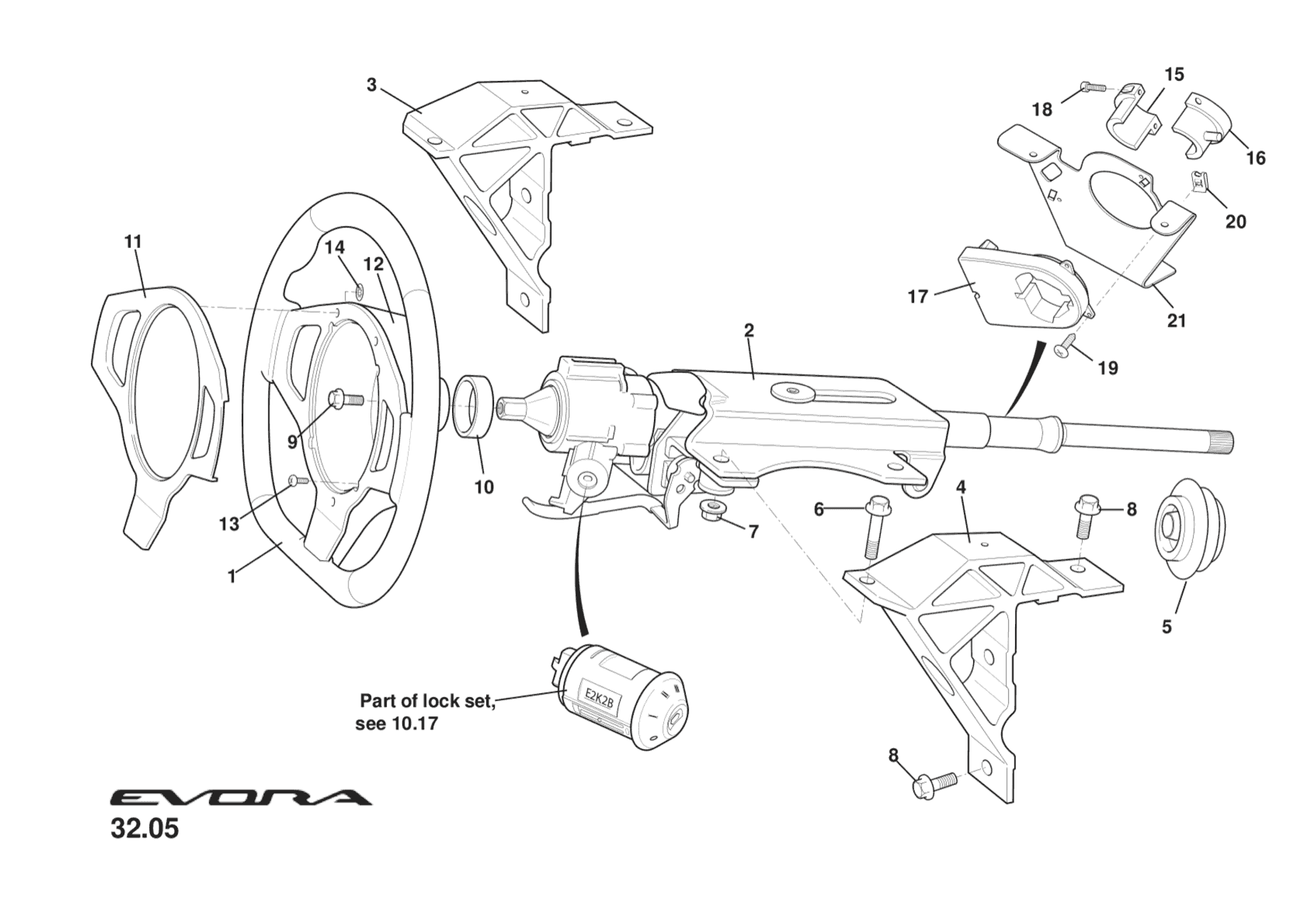 Upper Column, Steering Wheel