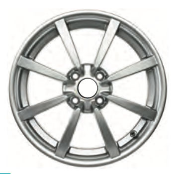 01 Road Wheel, front, eight spoke, HP silver, 5.5J x 16
