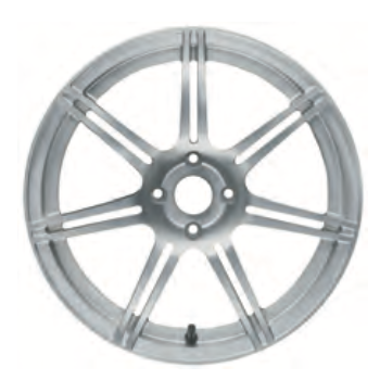 01b Road Wheel, front, seven, split spoke, forged/anodised