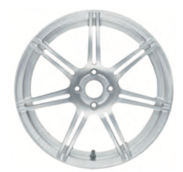 01c Road Wheel, front, seven, split spoke, forged/silver