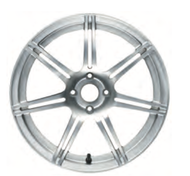 01d Road Wheel, front, seven, split spoke, forged/HP silver