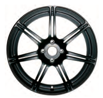 01e Road Wheel, front, seven, split spoke, forged/black