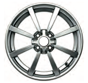 01g Road Wheel, front, eight spoke, HP dark Silver, 5.5J x 16